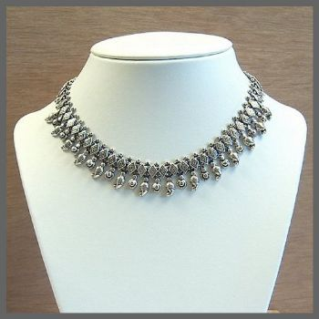 Traditional Style Formal Indian Sterling Silver Necklace